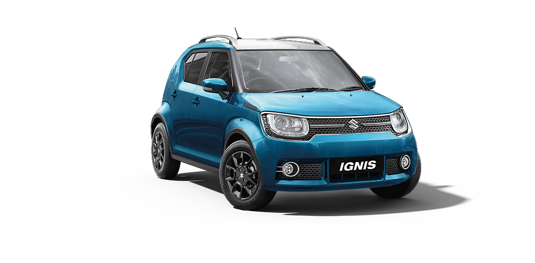 Ignis Car in Tinsel Blue W-Arctic White Color