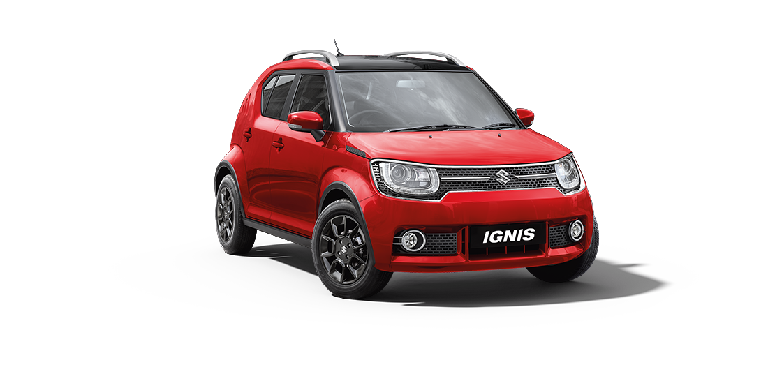 Ignis Car in Red W-Midnight Black Color
